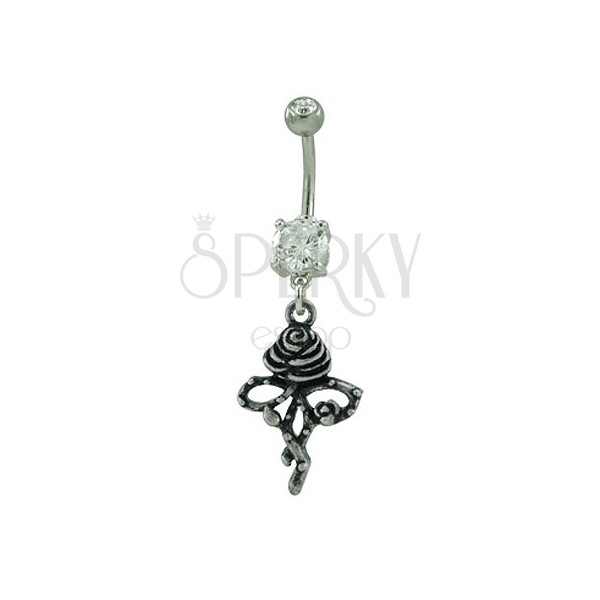 Two-tone rose belly button ring