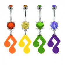 Music note belly ring with zircon in different colours