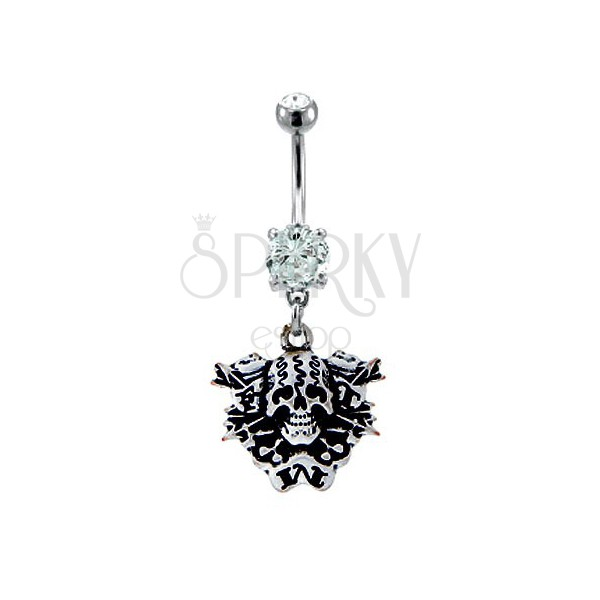 Belly button ring - skull with arrows