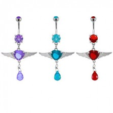 Heart belly ring with angel wings