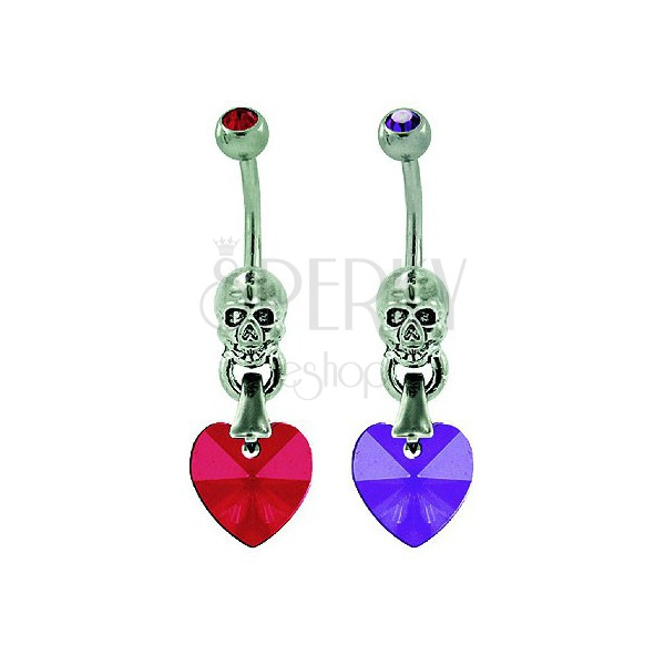 Belly button ring - heart with skull