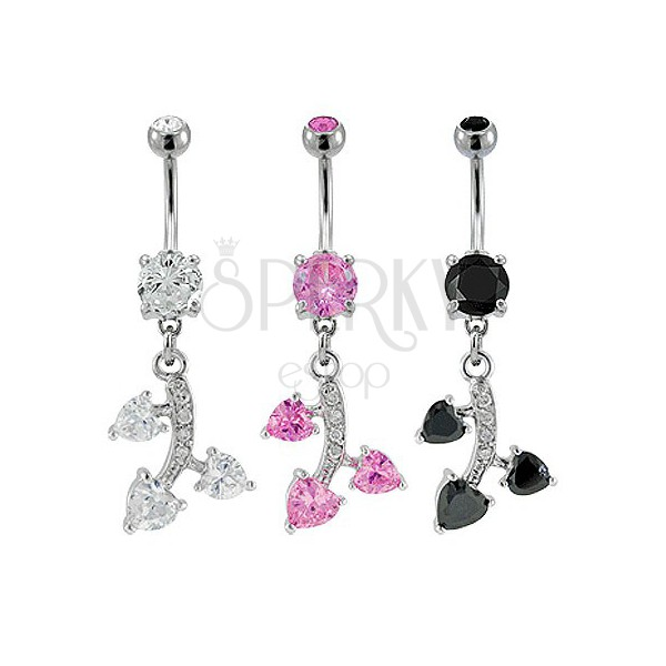 Belly ring with zirconic leaves