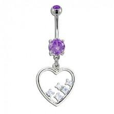 Navel ring - dangle heart