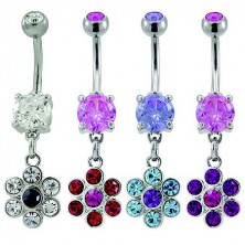 Belly button ring - zirconic flower
