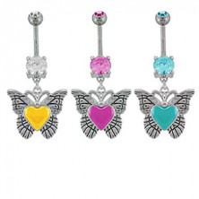 Belly ring with zircon - butterfly and painted heart