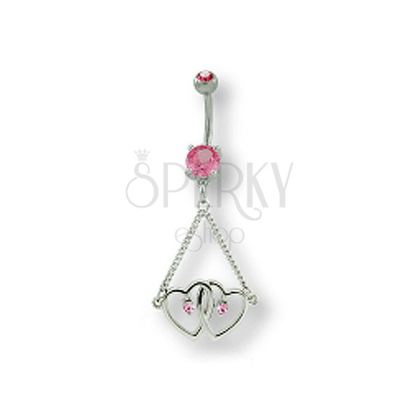 Navel ring - two hearts on chain with zircons
