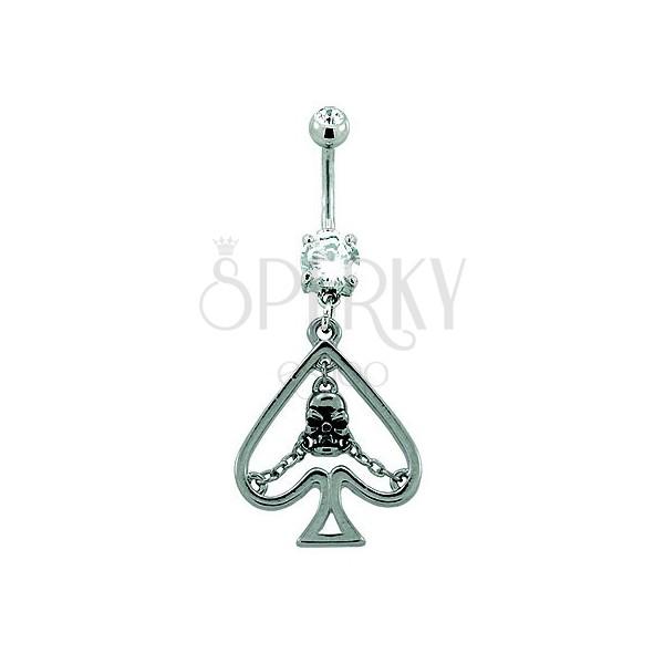 Navel ring - card spade symbol with skull