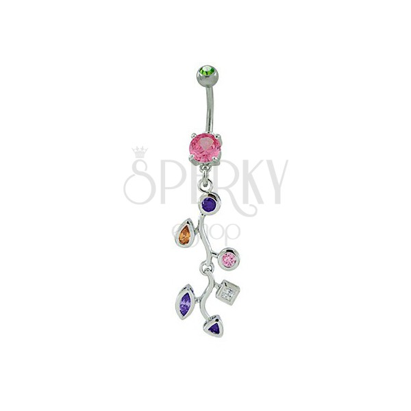 Belly ring - branch with zirconic leaves