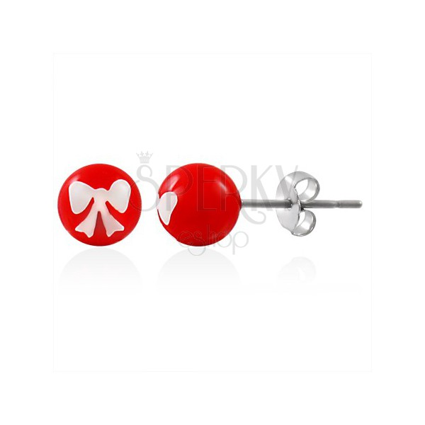 Steel earrings, red ball with white bow, stud fastening