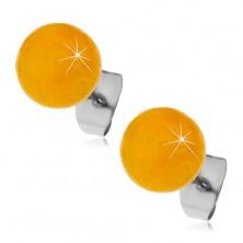 Steel stud earrings, yellow-orange balls, 8 mm