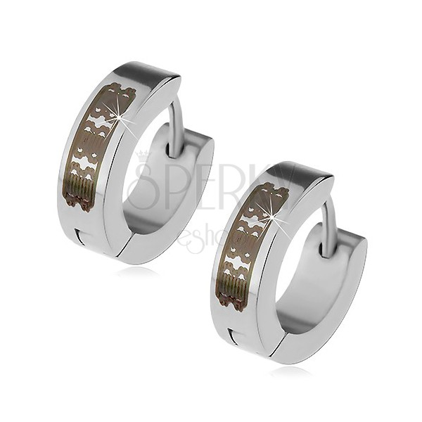Steel earrings in silver colour - hoops with engraved pattern, hinged snap