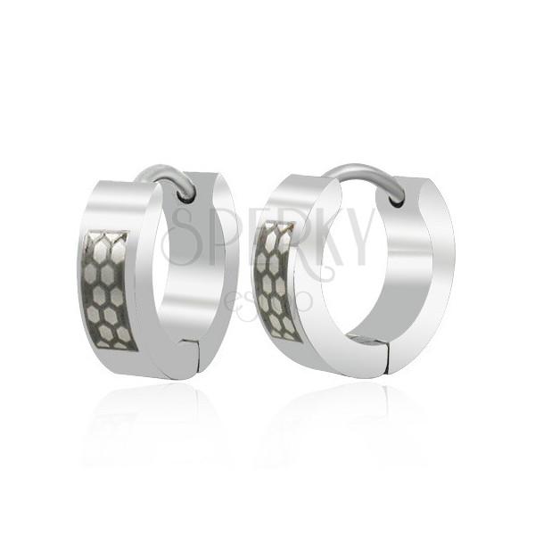 Black - silver steel earrings - honeycomb