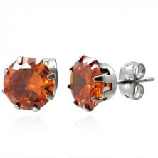 Steel stud earrings with orange stone 8 mm