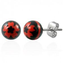 Steel earrings with black balls - red flower