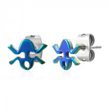 Colourful frog steel earrings