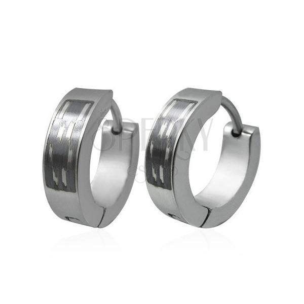 Steel earrings - hoops with patterned black rectangle