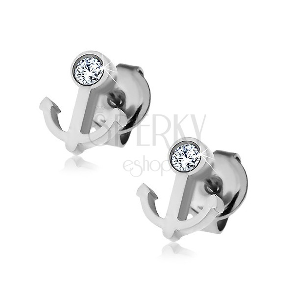 Earrings made of 316L steel - anchor with clear zircon, studs