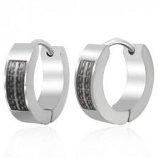 Huggie steel earrings with black chain pattern