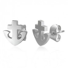 Earrings made of 316L steel - anchor and cross, silver colour, studs
