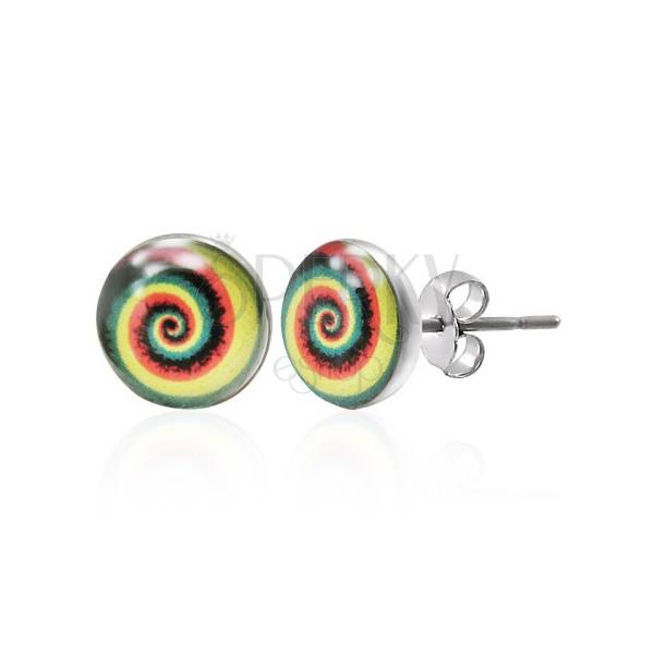 Colourful steel earrings - spiral