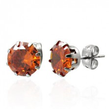 Steel earrings with orange zircon - 7 mm