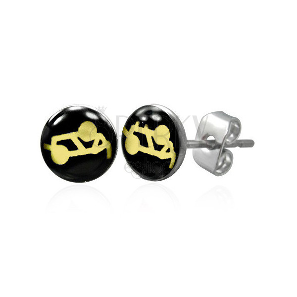 Round steel earrings – sexual position, clear glaze, studs