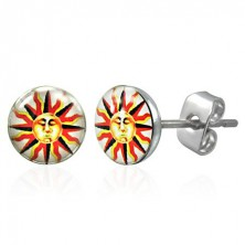 Stainless steel earrings - sun emblem