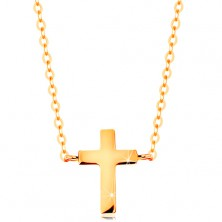 Necklace made of yellow 585 gold - small Latin cross, shiny chain
