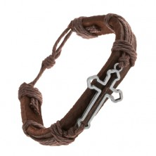 Leather bracelet in dark brown colour, contour of cross bottony, strings