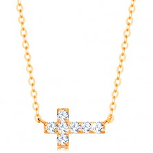 Necklace made of yellow 14K gold - glossy zircon cross, shiny chain