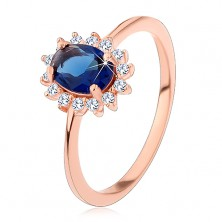 925 silver ring in copper colour, dark blue oval zircon with clear hoop