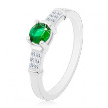 Engagement ring, 925 silver, zircon shoulders, round green zircon