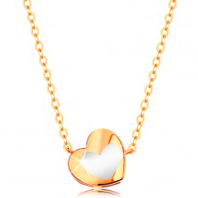 585 gold necklace - shiny heart with white glaze, chain