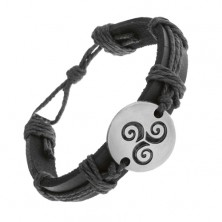 Bracelet made of black synthetic leather and strings, circle with black Tribal sprial