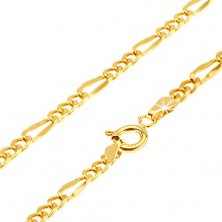Gold bracelet - three oval links, long flattened eyelet, 200 mm