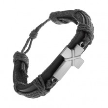 Leather bracelet in black colour, patinated cross with intersecting lines