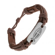 Dark brown bracelet made of synthetic leather and strings, shiny tag - fish with cross