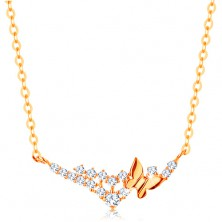 Necklace made of yellow 14K gold - chain made of oval links, butterfly and clear zircons
