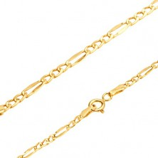 Shiny gold chain, three oval links, flattened oblong eyelet, 445 mm