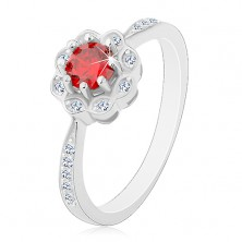 925 silver rhodium plated ring, glossy flower with red-orange zircon