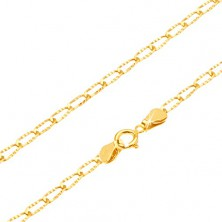 Chain in yellow 14K gold - shiny grooved elongated links, 495 mm