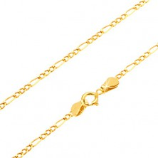 Chain made of yellow 14K gold - three tiny eyelets and oblong hoop, 545 mm
