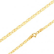 Bracelet, yellow 14K gold - flat elongated links, radial notches, 185 mm