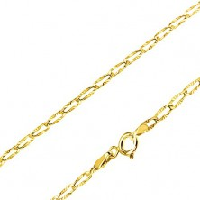 Chain made of yellow 14K gold - flat oblong links, radial notches, 440 mm