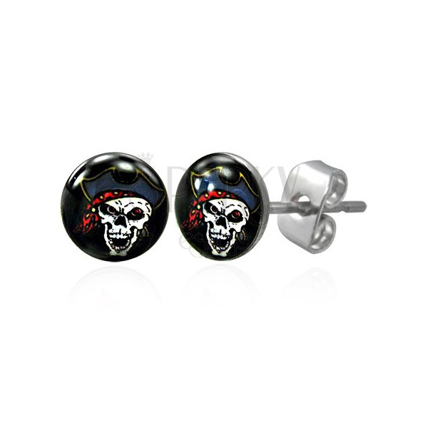 Stainless steel earrings - pirate skull