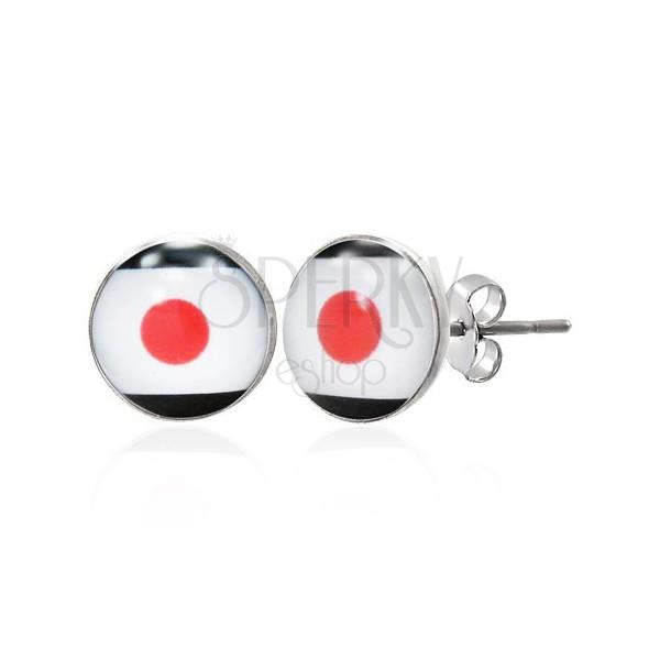 Stud steel earrings - Japanese flag