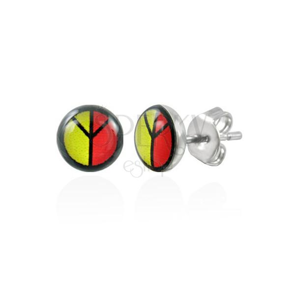 Colourful steel earrings - PEACE
