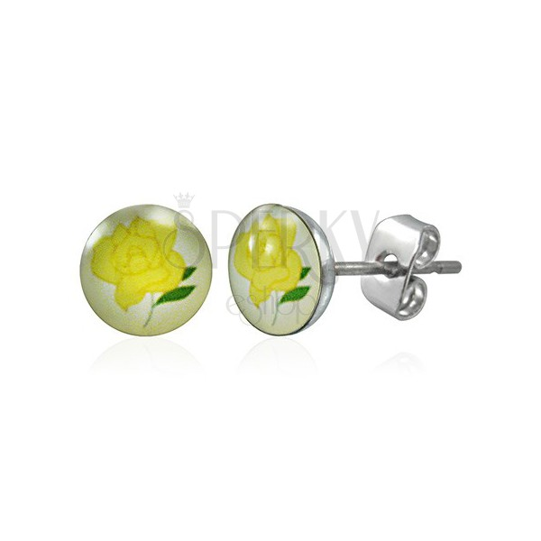 Stainless steel earrings - yellow rose