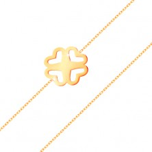 Bracelet made of yellow 585 gold - narrow chain, cut-out four-leaf clover