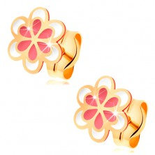 Earrings made of yellow 585 gold, pink-white glazed flower, studs